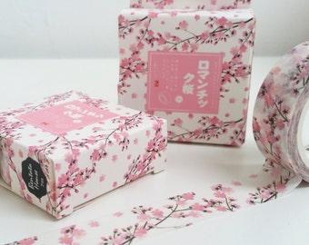 Pretty Pink Cherry Blossom Flower Washi Tape