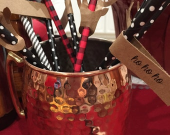 Holiday straws with tags