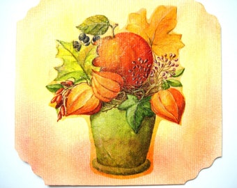 """Postcard fall card """"lovely bouquet"""". collage on thick drawing paper"""