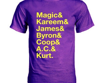 3e4fec418fa 1987 Magic and Kareem and James and Byron and Coop and A.C. and Kurt T-Shirt