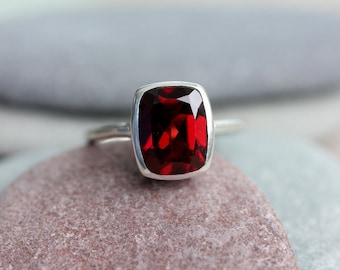 Cushion Garnet Ring, Red Garnet January Birthstone  Ring for Her, Garnet Cushion Ring, Eco Silver Solitaire Ring,Non Diamond Engagement Ring