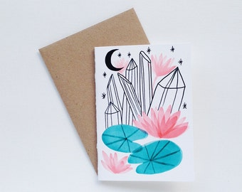A7 Crystal Lily Pad Moon Small Card