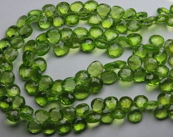 8 Inch Strand, Gorgeous Quality PERIDOT Faceted Heart Shaped Briolettes,6-7mm Long size,