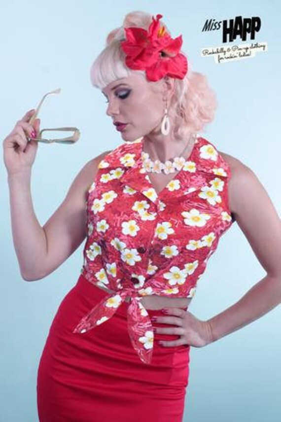1950s Rockabilly & Pin Up Tops, Blouses, Shirts Theresa Tie Top Red HibiscusTheresa Tie Top Red Hibiscus $29.00 AT vintagedancer.com
