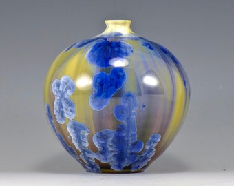 Blue and Gold Crystalline Porcelain Orb
