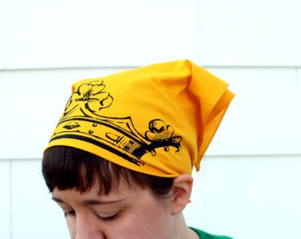 Royal Crown Bandana - Screen Printed - Yellow Cotton - Black Ink