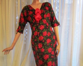 Vintage Red and Green Floral on Black Silk Sheath Dress, ca Late 1950s, Early 1960s