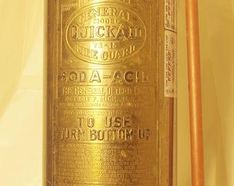 "Vintage Brass ""Quick Aid"" Soda Fire Extinguisher"