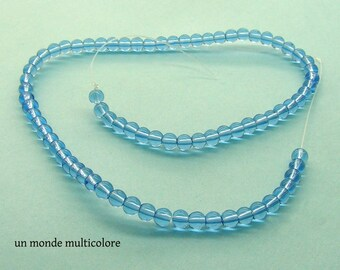 30 round 4 mm transparent blue glass beads