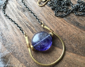 Blueberry Quartz Brass Horseshoe Necklace