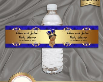 Printable Baby Shower Water Bottle Labels, Royal Baby Shower, Baby Prince, Royal Blue, Digital File, EDITABLE text in Microsoft® Word, BBS01