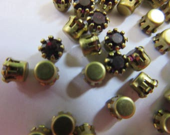 66 pieces of brass seT and pronged AMETHYST  SWAROVSKI RHINESTONES. a rare item A 602.