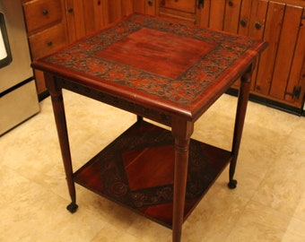 Antique Parlor Table, Victorian Hand Carved Parlor Table with Metal Ball and Claw Feet, 19th c. Center Hall Table, Antique Center Island