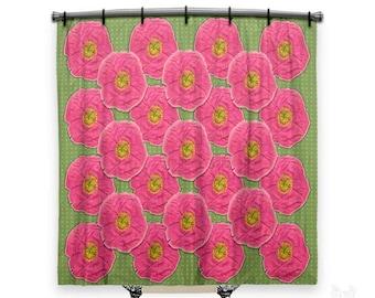 orange floral shower curtain. Floral Shower Curtain  Curtain Shower Curtains Poppy Fabric Etsy