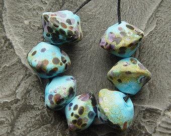 "Lampwork, handmade  - turquoise raku and some ""flowers"" - by Calisto"