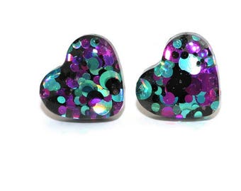 Confetti Heart Earrings Purple Teal Glitter Sparkly Studs Cute Girly Bold Chunky Ear Studs Hypoallergenic Stainless Steel Posts