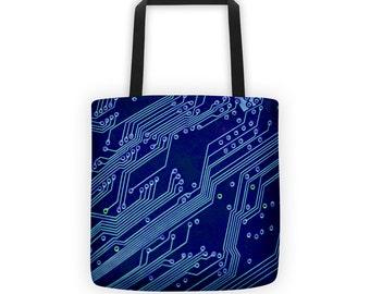 Computer Circuits Blue Designer Tote Bag