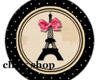 pretty cabochon 25mm, eiffel tower, Paris and pink bow, black outline