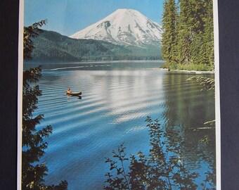 "9"" x 11 1/2"" Mount St Helens Spirit Lake Washington State Paper Picture Ray Atkeson"