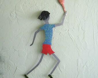 Metal Wall Sculpture Tennis Guy Art Recycled Metal Tennis Decor Sports Action Wall Art Red Blue 15 x 21