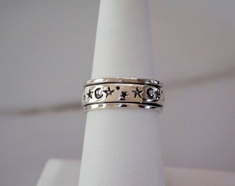 Sterling Silver Celestial Spinner Ring, Sterling Silver Meditation Ring, Moon and Stars Spinner Ring, Moon and Stars Meditation Ring