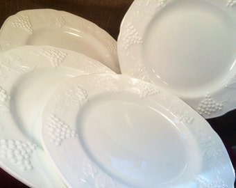 1960's Set of 4- Milk Glass LUNCHEON Plates in the Harvest Pattern by Colony, Harvest Grape, Weddings,