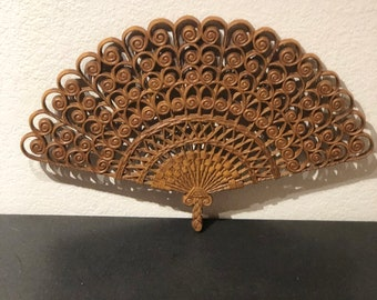 Hollywood Regency Style Mid Century Modern Fan Wall Hanging Burwood Products
