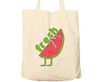 Tote Bag Watermelon, Food Bag, Cotton Food Bag, Bag For Life, Tote Bag Funny, Illustrated Tote