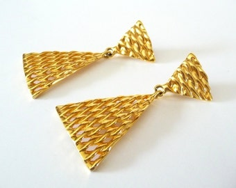 Ann Klein Earrings Gold Clip On Long Dangle Earrings Vintage Signed Statement Earrings from TreasuresOfGrace