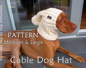 Dog Hat Knit PATTERN / Cable Dog Hat Knit PATTERN / Beanie Dog Hat Knit Pattern / sizes M and L Dog Hat Knit Pattern