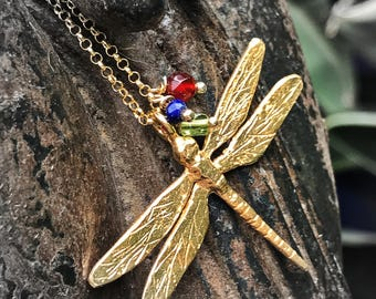 Large Dragonfly pendant. Large Dragonfly necklace. Dragonfly Silver Bath Gold pendant. Large dragonfly bath gold necklace.