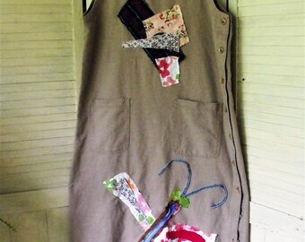 Linen Jumper Dress/ Raggey Applique/ Dragonfly and Patchwork/ Raw Edge Grunge/ Size Large, Button Side, Gray-Tan Linen/ Sheerfab Handmade
