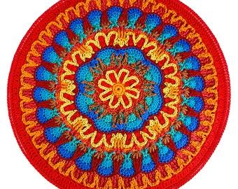 Crochet Fire and Ice Mandala Wall Hanging Overlay Crochet pattern pdf