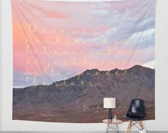 Jack Kerouac Quote Tapestry, Jack Kerouac Art,  Desert Tapestry, Wanderlust Wall Decor, Nature Tapestry, Boho Decor, Dorm Tapestry, Bohemian