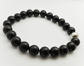 anchoring gemstone bracelet, black agate - jewel of protection, semi precious gems, lithotherapy - Father's Day gift