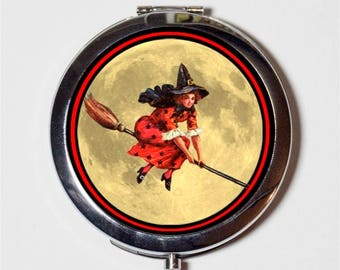 Flying Witch Compact Mirror - Halloween Retro Witchcraft - Make Up Pocket Mirror for Cosmetics