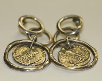 Uno De 50 Sterling Silver Coin Earrings