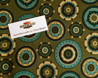 Michael Miller #C-3103 Stitch Medallion Fabric, Medallion Fabric, Sage Green and Blue Quilting Cotton, Michael Miller Fabric