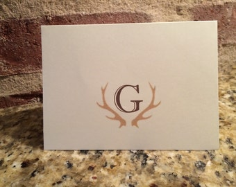 Monogrammed Cards - Thank You Cards with deer antlers