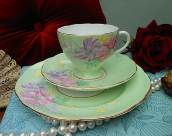 1930's FOLEY BEGONIA TRIO - by E. Brain &Co, pre Shelley - Vintage tea cup - Green china - Art deco - Hand painted flowers - Afternoon tea