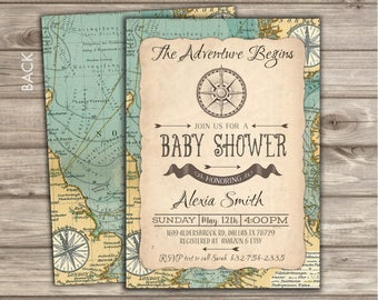 The Adventure Begins Baby shower Invitations+Book Request+DiaperRaffle Map Compass theme Around the World