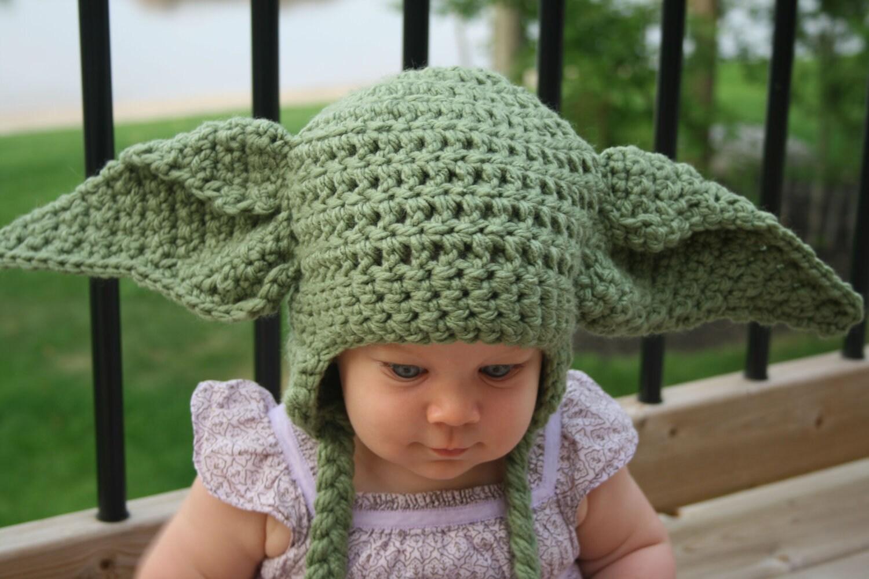 Yoda inspired hat crochet pattern newborn toddler child zoom dt1010fo