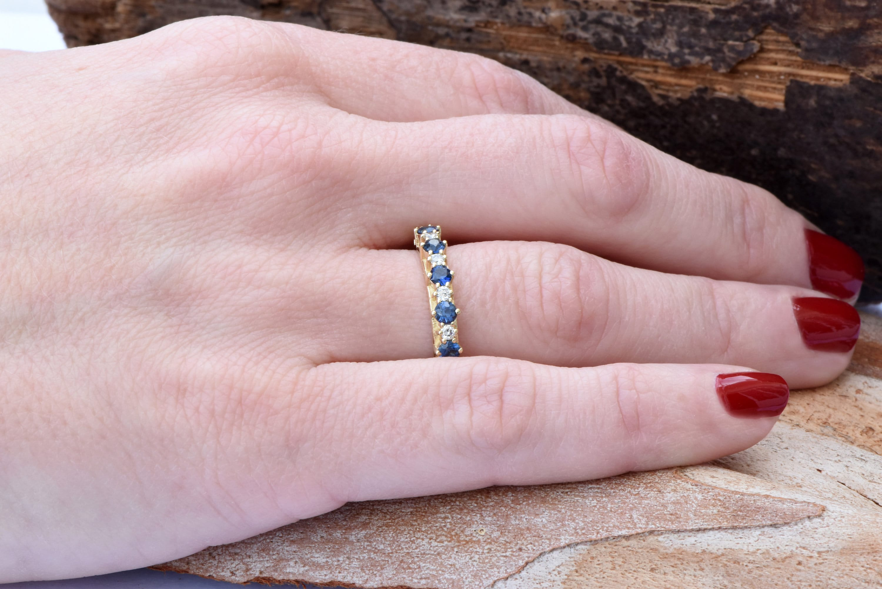 Sapphire eternity band-Blue sapphire engagement ring-Blue sapphire ...