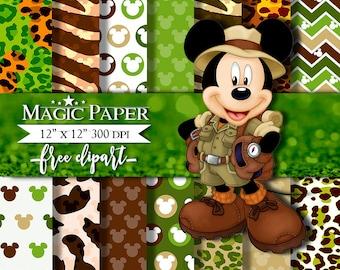 Safari Mickey Mouse Digital Paper Clipart Clip Art, animal print