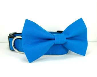 Wedding dog collar-Royal Blue Dog Collars with bow tie set  (Mini,X-Small,Small,Medium ,Large or X-Large Size)- Adjustable