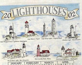 Lighthouses Tea Towel Hanging Calendar with Dowel