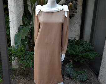 Vintage 1980's Harold Levine for Bonwit Teller Mocha Dress with Cream Colored Drape - Size 12