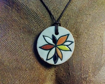 Hand Painted Succulent Flower Ceramic Pendant with Geometric Woodcut Stamp Design on Reverse