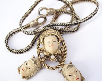 Vintage Selro Asian Princess Bolo Necklace with TLC Earrings.  1950s Thai Girl.