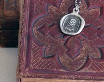 Skull Necklace Skull and Crossbones - A Memento Mori from antique wax seal inscribed - 'Death or Glory' - 334